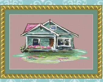 Watercolor Cottage Cross Stitch Pattern