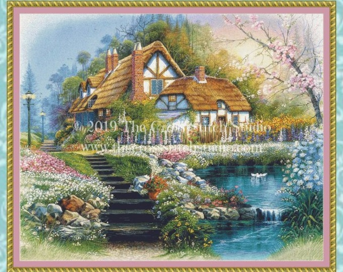Cottage With Swans Cross Stitch Pattern LARGE