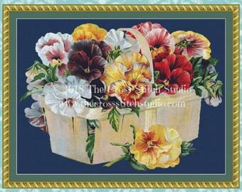 Pansies Cross Stitch Pattern, Vintage Seed Packet