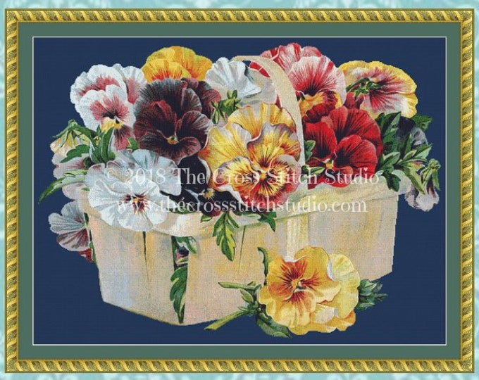 Maule's Pansy Basket Cross Stitch Pattern