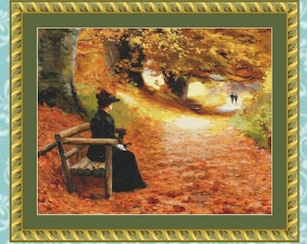 A Wooded Path in Autumn Cross Stitch Pattern (Cropped)