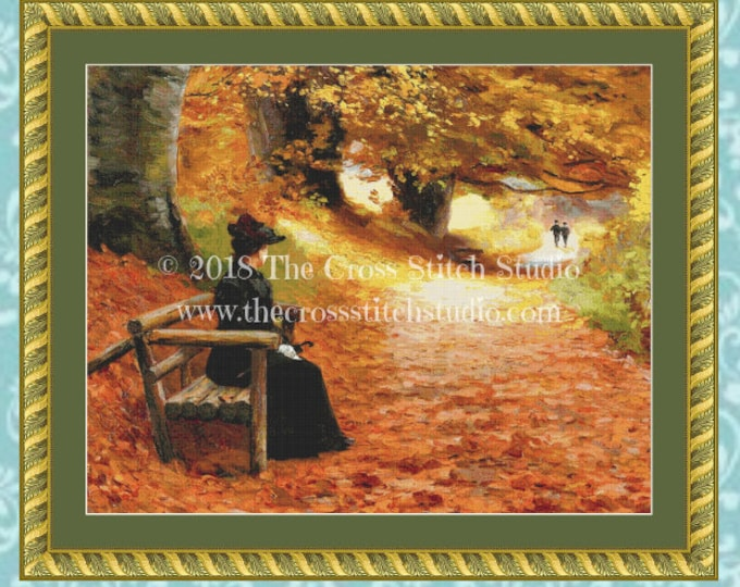A Wooded Path in Autumn Cross Stitch Pattern SMALL