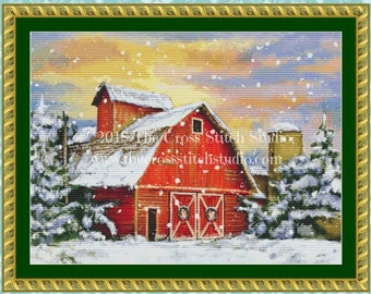 Barn Cross Stitch Pattern SMALL, Vintage Christmas, Farmhouse Decor, Winter Wall Art
