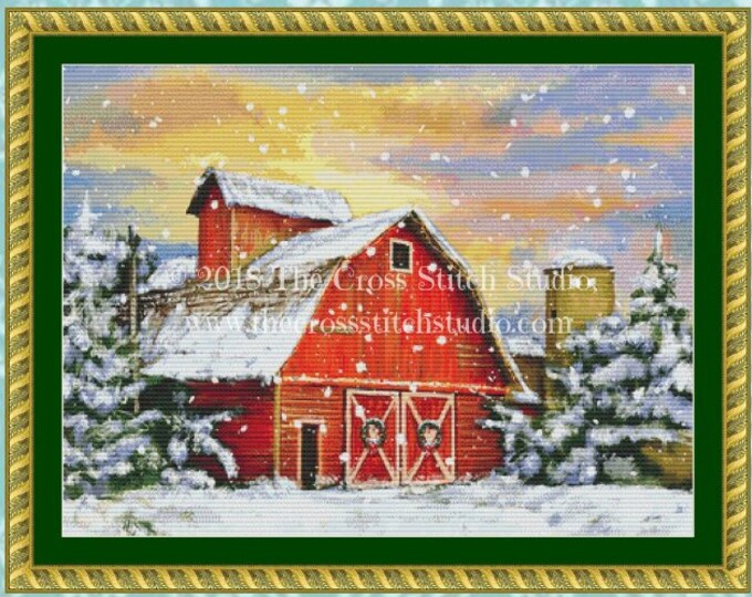Winter Barn Cross Stitch Pattern SMALL