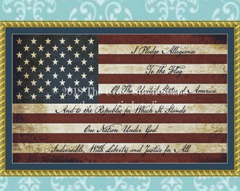 American Flag Cross Stitch Pattern, Vintage Pledge of Allegiance SCRIPT