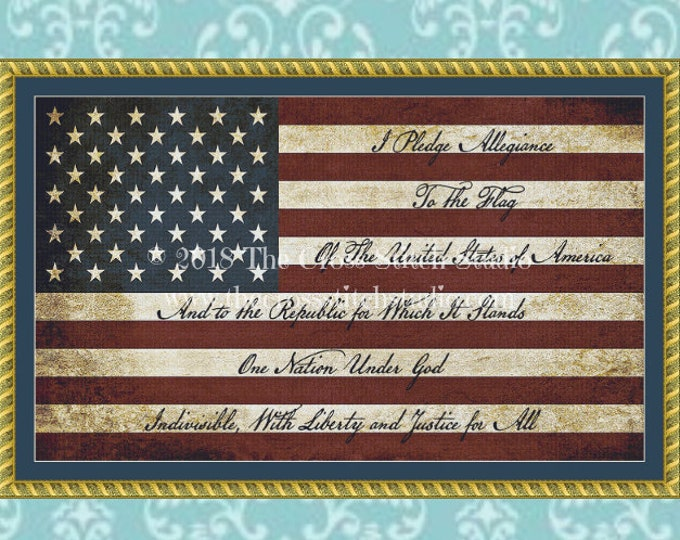 Pledge of Allegiance Cross Stitch Pattern SCRIPT