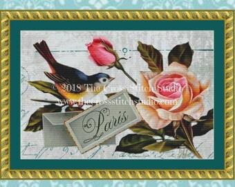 Pink Rose Cross Stitch Pattern, Vintage Floral Wall Art, Bluebird