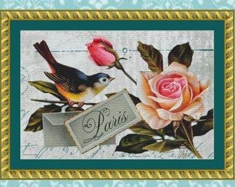 Paris Bluebird Cross Stitch Pattern