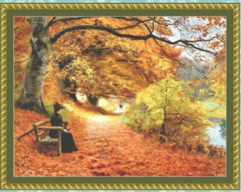 A Wooded Path in Autumn Cross Stitch Pattern