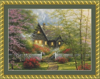 Dogwood Cottage Cross Stitch Pattern (Cropped)