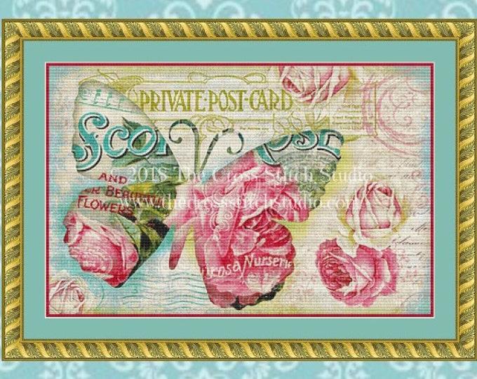 Shabby Pink & Blue Butterfly Cross Stitch Pattern