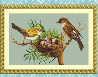 Goldfinch Family Cross Stitch Pattern