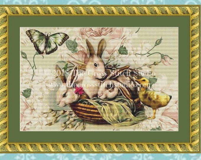Bunnies & Chick Cross Stitch Pattern