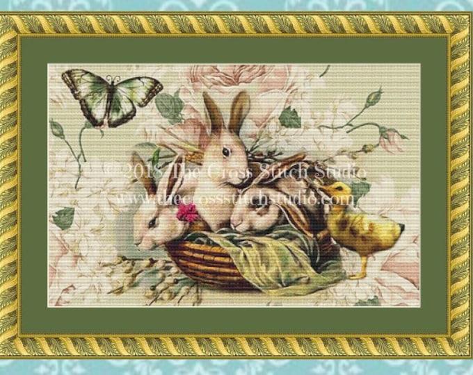 Bunnies & Chick Cross Stitch Pattern