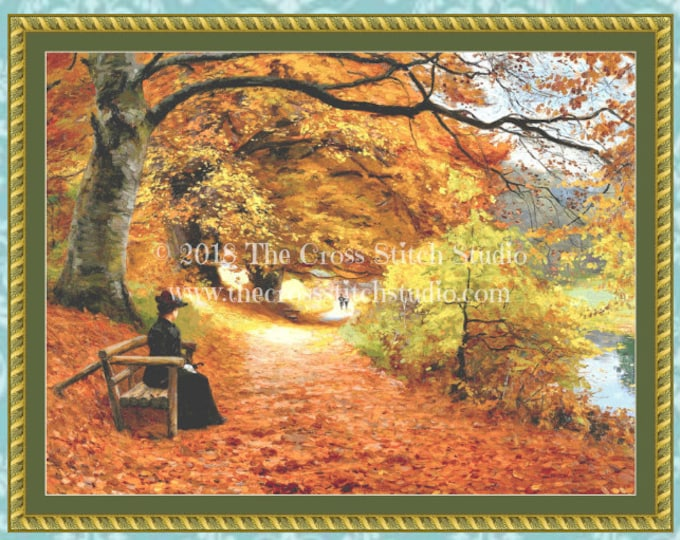 A Wooded Path in Autumn Cross Stitch Pattern LARGE