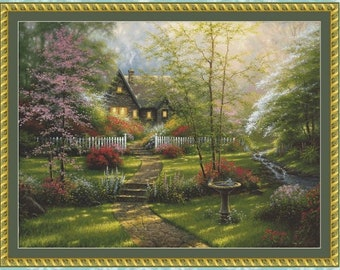 Dogwood Cottage Cross Stitch Pattern