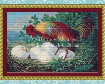 Rooster Cross Stitch Pattern, Vintage