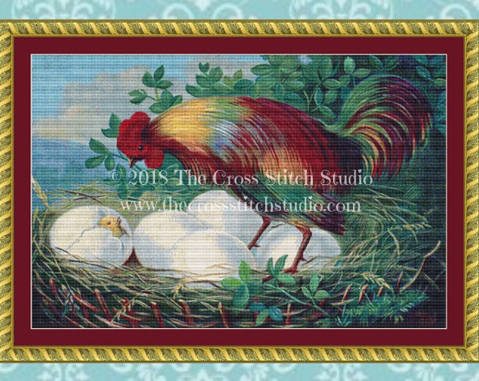 Colorful Rooster Cross Stitch Pattern