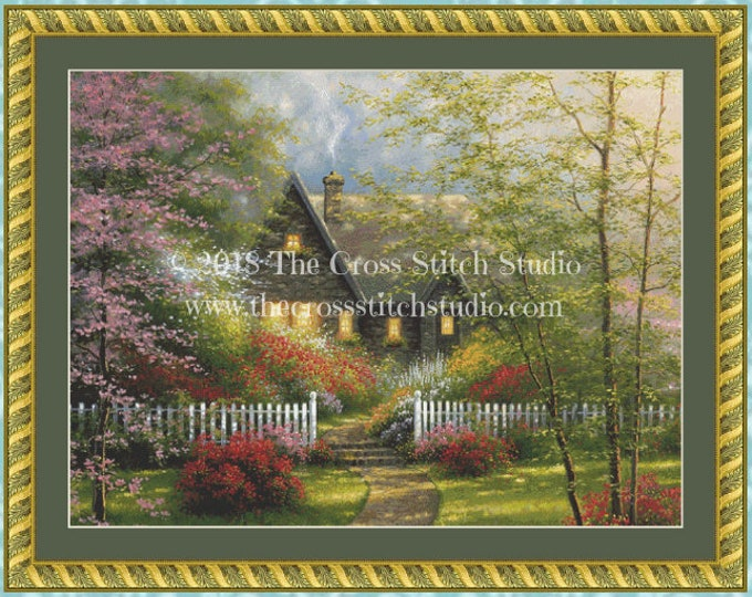 Dogwood Cottage Cross Stitch Pattern SMALL