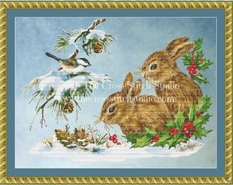 Snow Bunnies Cross Stitch Pattern