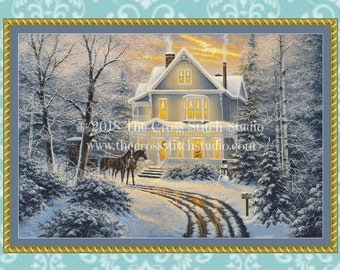 Christmas Cross Stitch Pattern LARGE, Vintage Victorian House, Winter Decor