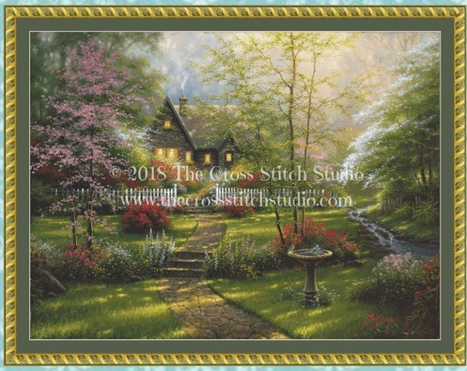 Dogwood Cottage Cross Stitch Pattern LARGE