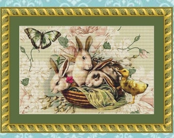 Bunnies and Chick Cross Stitch Pattern