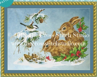 Bunny Rabbit Cross Stitch Pattern PDF | Vintage Home Decor | Woodland Nursery Decor | Gift for Her | Instant Download | Cross Stitch Studio