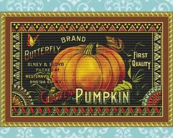 Golden Pumpkin Cross Stitch Pattern
