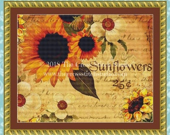 Sunflowers Cross Stitch Pattern, Vintage Rustic Decor