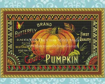 Pumpkin Cross Stitch Pattern PDF, Rustic Fall Decor, Vintage Advertising, Embroidery Designs