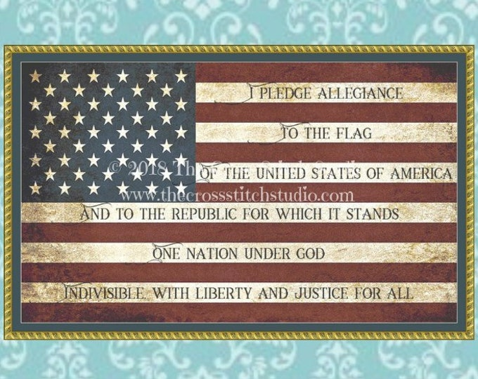 Pledge of Allegiance Cross Stitch Pattern BLOCK