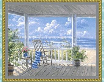 Beach Cross Stitch Pattern LARGE