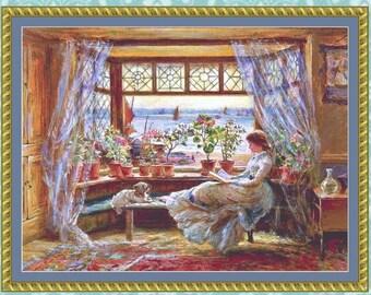 Reading by the Window Cross Stitch Pattern