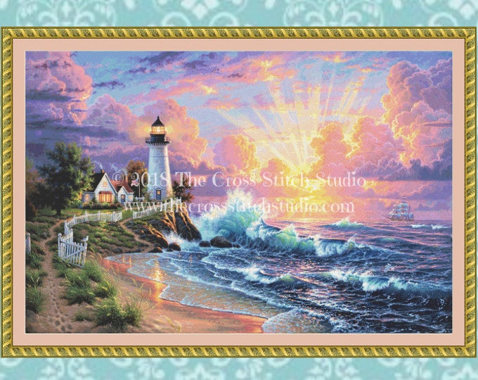Featured listing image: Lighthouse Cross Stitch Pattern LARGE
