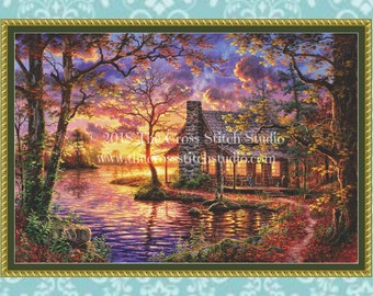 Cabin Cross Stitch Pattern LARGE