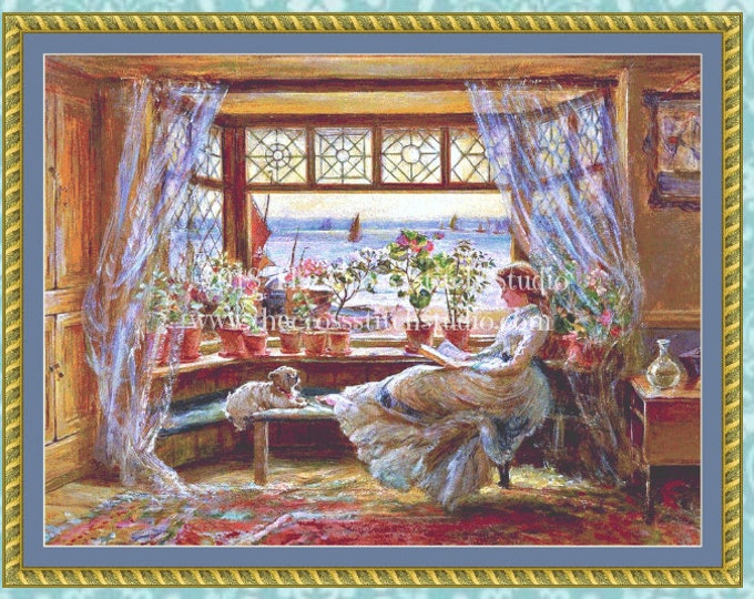 Reading by the Window Cross Stitch Pattern LARGE