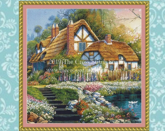 Cottage With Swans Cross Stitch Pattern SMALL