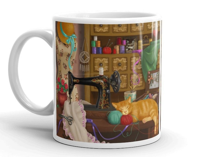 Sewing Room Cat Coffee Mug