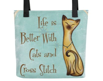 Cats and Cross Stitch Tote Bag