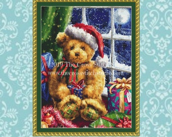 Christmas Teddy Bear Cross Stitch Pattern - MEDIUM, Christmas Gift, Embroidery Designs