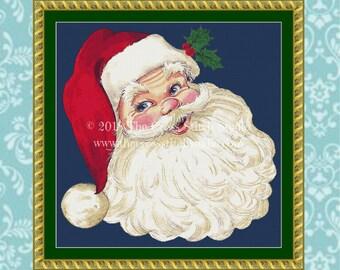 Santa Cross Stitch Pattern, Vintage Christmas Decor, Wall Art, Christmas Gift