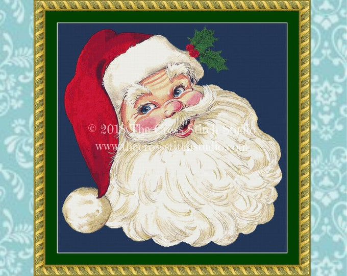Holly Jolly Santa Cross Stitch Pattern