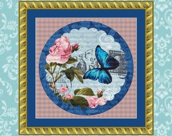Cobalt Butterfly Cross Stitch Pattern