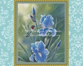 Purple Irises Cross Stitch Pattern, Hummingbird, Garden Decor