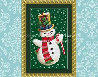 Snowman Cross Stitch Pattern, Vintage Christmas Card