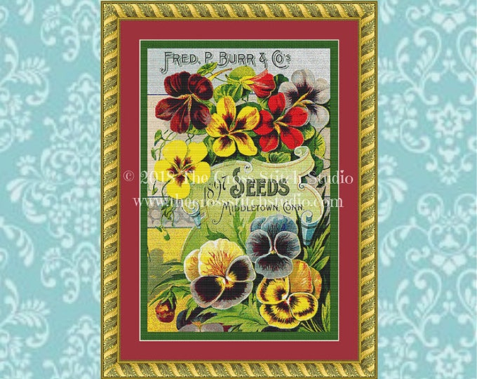 Pansy Seed Packet Cross Stitch Pattern
