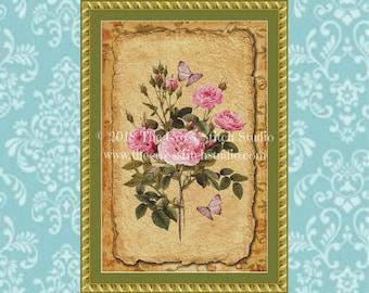 Flower Cross Stitch Pattern, Vintage