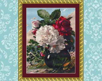 Vase of Peonies and Roses Cross Stitch Pattern