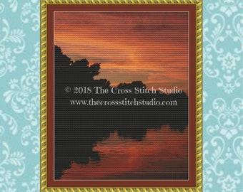 Sunset Cross Stitch Pattern, Michigan Nature Wall Art